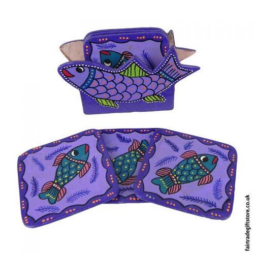 Fair-Trade-Hand-Painted-Coasters---Purple