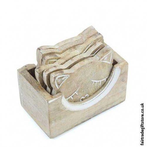 Fair-Trade-Wooden-Cat-Coaster-Set