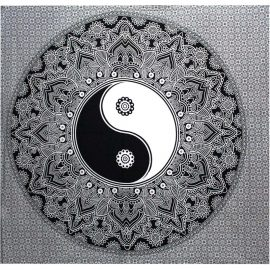 Fair Trade Cotton Throw - Black Yin Yang - Wall Hanging - Bed Spread