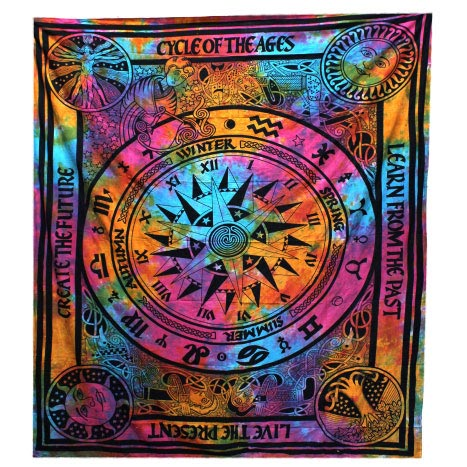 Fair Trade Cotton Throw - Cycle of Ages - Wall Hanging - Bed Spread
