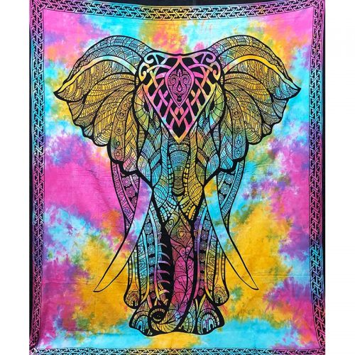 Fair Trade Cotton Throw - Elephant - Wall Hanging - Bed Spread