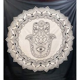Fair Trade Cotton Throw - Hamsa Hand - Wall Hanging - Bed Spread