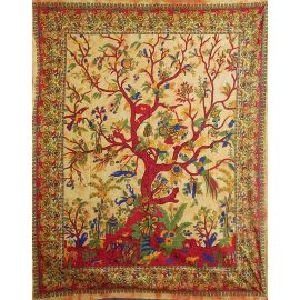 Fair Trade Cotton Throw - Orange Tree of Life - Wall Hanging - Bed Spread