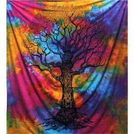 Fair Trade Cotton Throw - Tree- Wall Hanging - Bed Spread
