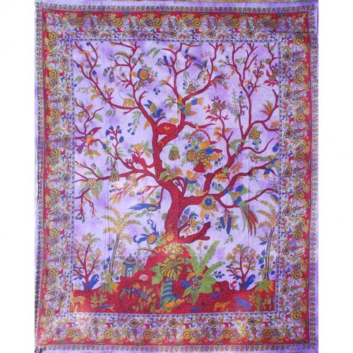 Fair Trade Cotton Throw - Tree of Life - Wall Hanging - Bed Spread