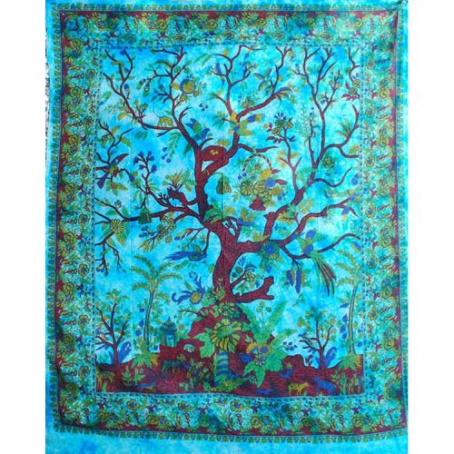 Fair Trade Cotton Throw - Turquoise Tree of Life - Wall Hanging - Bed Spread