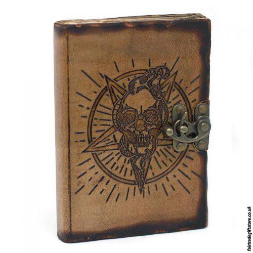 Fair-Trade-Leather-Bound-Pentangle-Skull-Notebook