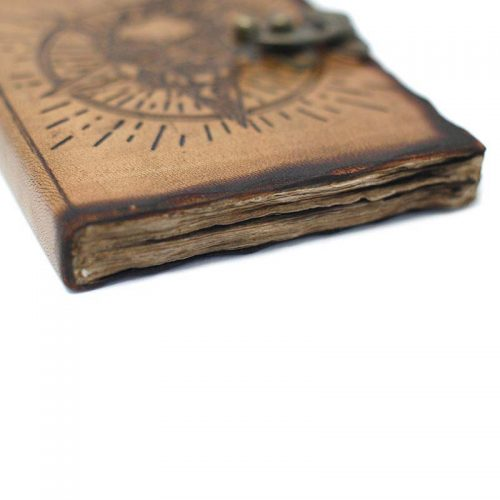 Fair-Trade-Leather-Bound-Pentangle-Skull-Notebook-Detail
