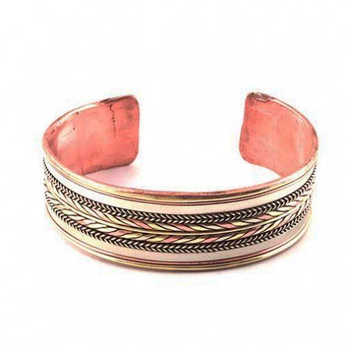 Three Tone Copper Metal Bracelet