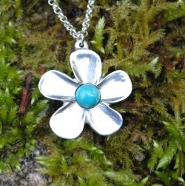 Handmade Pewter Buttercup Flower Necklace with Turquoise Gem