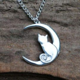 Handmade-Pewter-Cat-Moon-Necklace