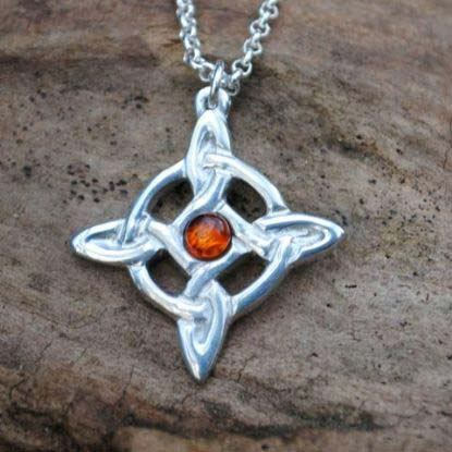 Handmade-Pewter-Celtic-Cross-Necklace-with-Amber-Gem