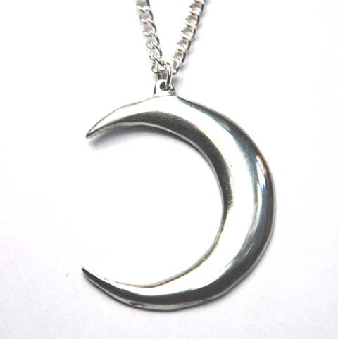 Handmade Pewter Crescent Moon Necklace