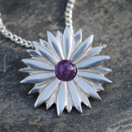 Handmade-Pewter-Daisy-Necklace-with-Amethyst-Gem