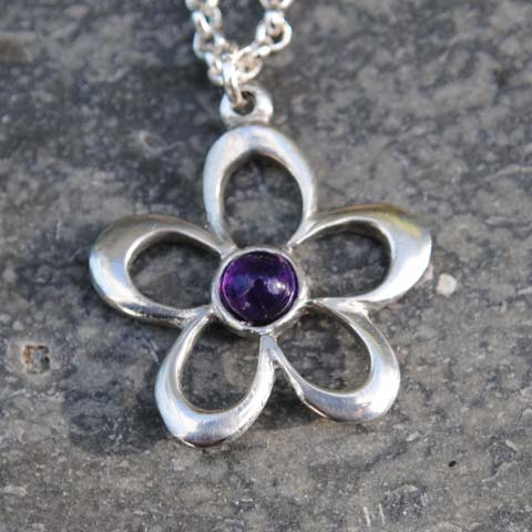Handmade-Pewter-Flower-Necklace-with-Amethyst