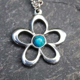 Handmade-Pewter-Flower-Necklace-with-Turquoise
