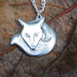 Handmade Pewter Fox Necklace