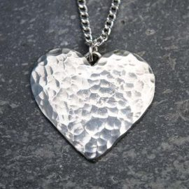 Handmade-Pewter-Hammered-Heart-Necklace