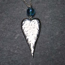 Handmade Pewter Hammered Heart Necklace with Glass Bead