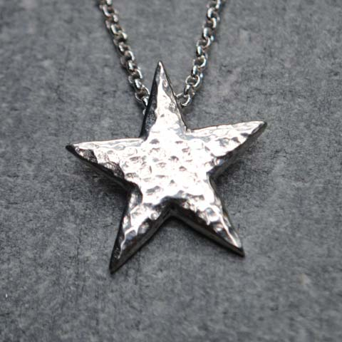 Handmade Pewter Hammered Star Necklace