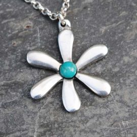 Handmade-Pewter-Jasmine-Necklace-with-Turquoise-Gem