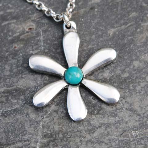 Handmade-Pewter-Jasmine-Necklace-with-Turquoise-Gem