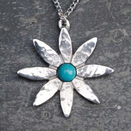 Handmade-Pewter-Lily-Flower-Necklace-with-Turquoise-Gem