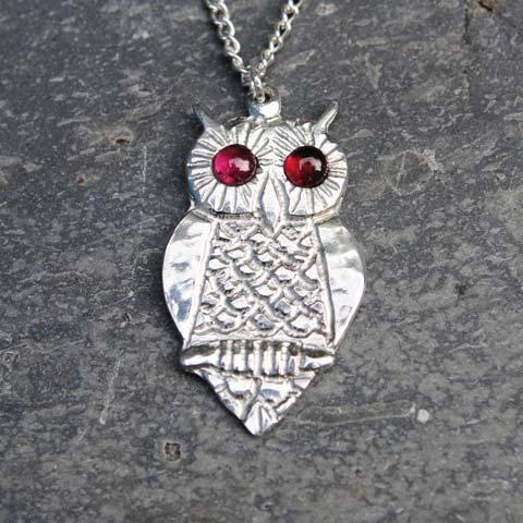 Handmade-Pewter-Owl-Necklace-with-Garnet-Gems-