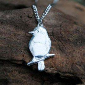 Handmade-Pewter-Robin-Bird-Necklace