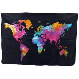Tie Dye Wall Art Wall Hanging - Map of the World
