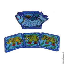 Fair-Trade-Mithila-Hand-Painted-Coasters-Blue
