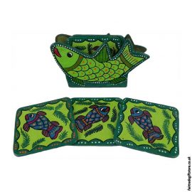 Fair-Trade-Mithila-Hand-Painted-Coasters-Green