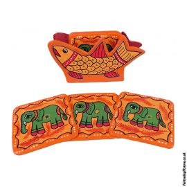 Fair-Trade-Mithila-Hand-Painted-Coasters-OrangeFair-Trade-Mithila-Hand-Painted-Coasters-Orange
