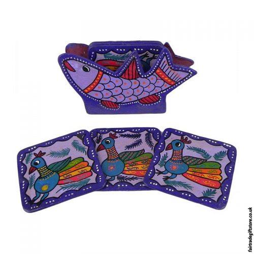 Fair-Trade-Mithila-Hand-Painted-Coasters-Purple