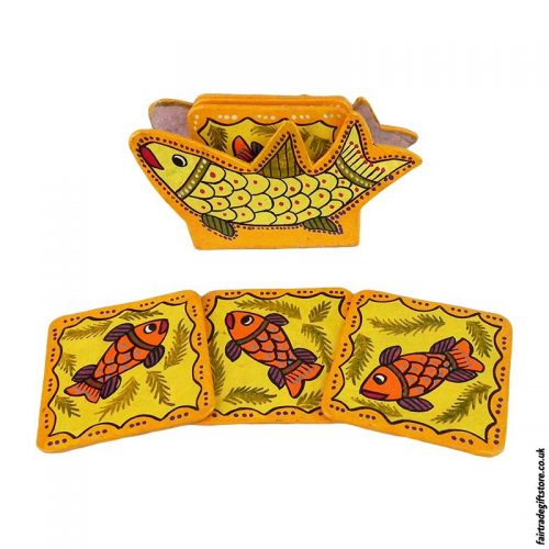 Fair-Trade-Mithila-Hand-Painted-Coasters-Yellow