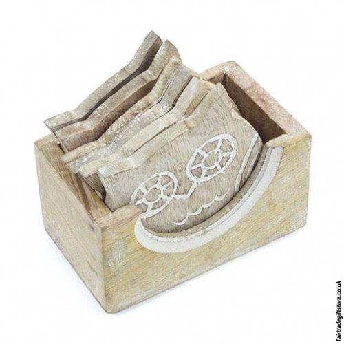 Fair-Trade-White-Wash-Wooden-Coasters-Owl