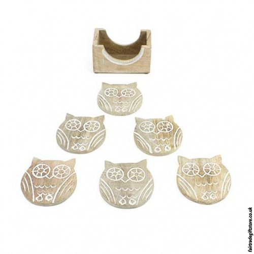 Fair-Trade-White-Wash-Wooden-Coasters-Owl-out